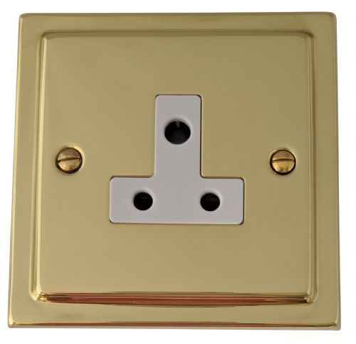 G&H TB59W Trimline Plate Polished Brass 1 Gang Single 5 Amp Plug Socket